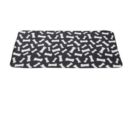Plaid polaire pour animaux noir avec motif os 100x70cm