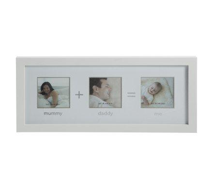 "Cadre 3 photos famille ""Mommy + Daddy = Me"" en bois blanc"