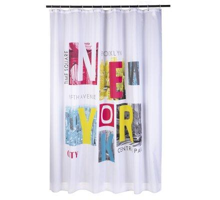 Lot de 3 accessoires de salle de bain thème New York, un tapis de bain, un rideau de douche et une corbeille à linge