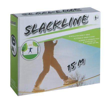 Slackline kit complet 15m avec 1 cliquets et 2 bandes de protection pour arbres