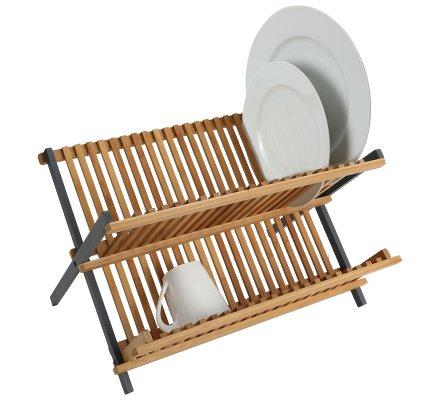 Egouttoir à vaisselle en bambou naturel capacité 36 assiettes H33xL42xp25cm