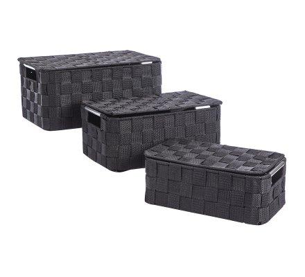 Lot de 3 paniers, boîtes de rangement avec couvercle structure métal et nylon noir