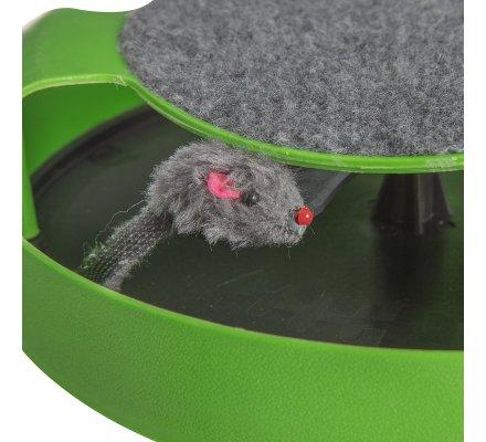 Station de jeu pour chat avec souris rotative et grattoir D 25,5cm