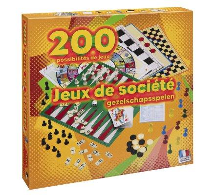 Coffret 200 jeux de société, jeu de cartes, dames, petits chevaux, dominos, échecs, yams..