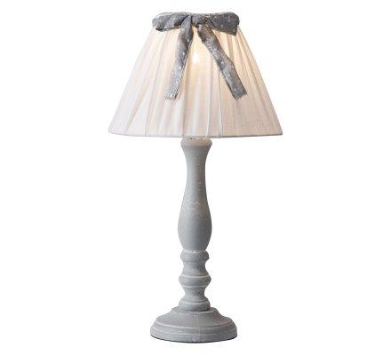 Lampe à poser en bois gris avec abat-jour en tissu et noeud à pois