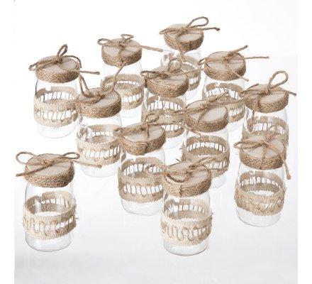 Lot de 12 mini bocaux plastique décoration de table avec ruban et ficelle couleur lin