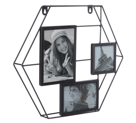 Pêle-mêle hexagone design industriel en métal noir 3 photos