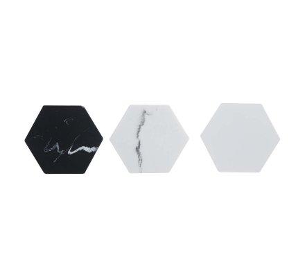 Lot de 3 patères en résine désign forme hexagonale 3 couleurs