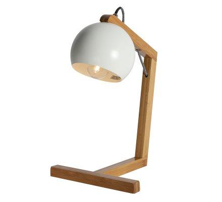 Lampe en bambou et abat-jour métal blanc H41cm Atmosphéra