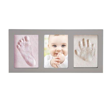 Kit pour moulage d'empreintes 3D bébé 2 parties rose et blanc avec cadre photo gris 44,5cm