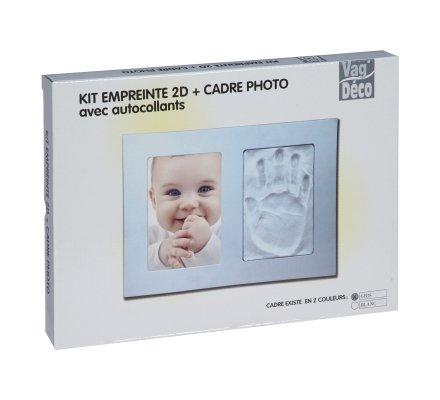 Kit pour moulage d'empreinte bébé 2D avec cadre photo en bois gris et autocollants 21x29cm