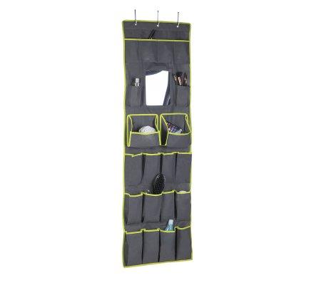 Organisateur, rangement accessoires à suspendre avec miroir intégré 16 poches gris H145cm