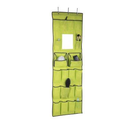 Organisateur, rangement accessoires à suspendre avec miroir intégré 16 poches vert H145cm
