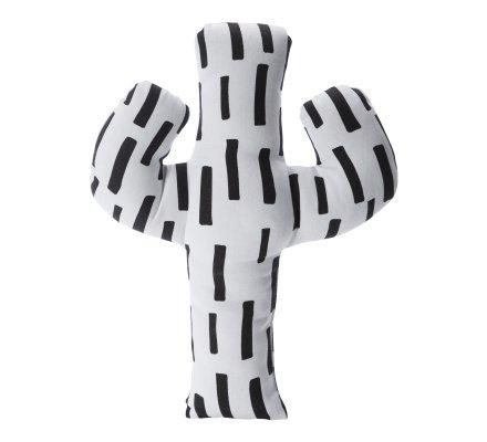 Coussin forme cactus blanc avec motif noir 47x37cm