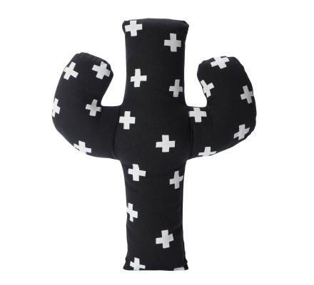 Coussin forme cactus noir avec motif blanc 47x37cm