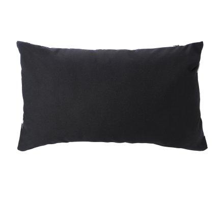 Lot de 2 coussins déhoussables noirs avec motifs blancs 30x50cm