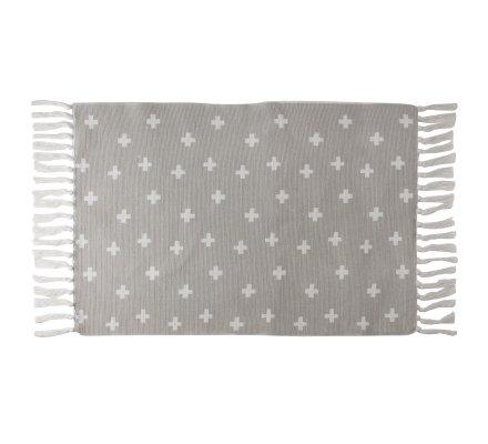 Tapis déco à franges gris avec motifs croix blanches en coton 90x60cm