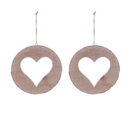 Lot de 2 suspensions rondin de bois naturel avec coeur découpé et écorce D20,5cm
