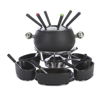 Service à fondue avec plateau tournant pour 6 personnes 22 pièces