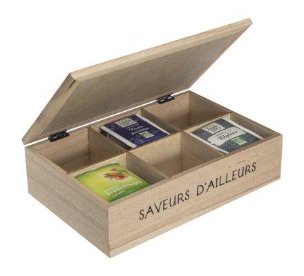 Boite à thé en bois 6 compartiments avec motifs imprimés