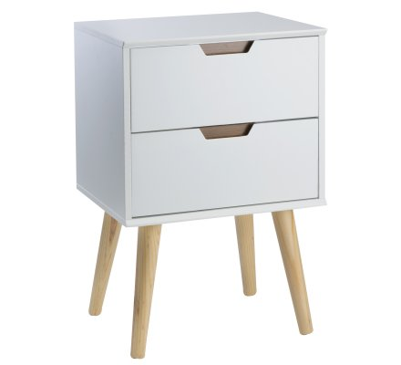 Table de chevet, meuble de rangement design scandinave en bois 2 tiroirs pieds biseautés
