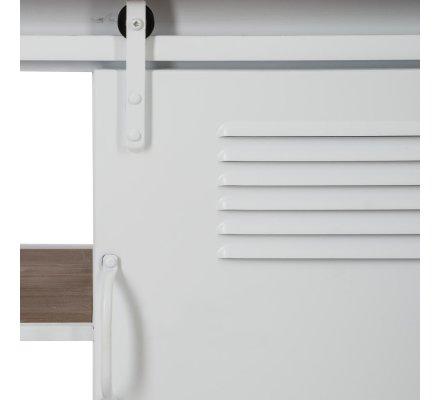 Buffet bas en bois et métal style industriel Atmosphéra sur roulettes porte coulissante  L 112 x l 40,5 x H 66,5 cm