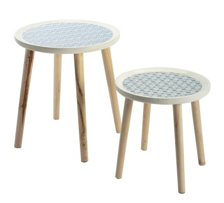Lot de 2 tables d'appoint, tables café rondes en bois et motifs bleus Atmosphéra