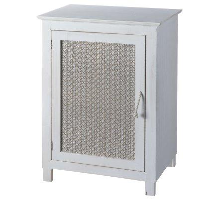 Petit meuble d'appoint, rangement une porte Atmosphéra en bois blanc H45cm