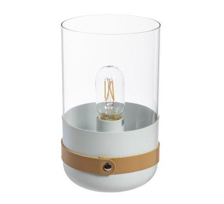 Lampe à poser en verre et lanière cuir H26cm blanc