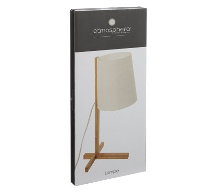 Lampe à poser en bambou abat jour polypropylène H41cm