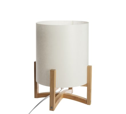 Lampe à poser en bambou abat jour polypropylène H28cm