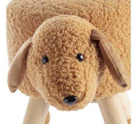 Petit tabouret en forme de chien marron, pieds en pin H 37cm