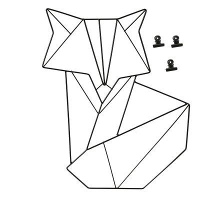 Pêle-mêle forme renard en métal noir avec 3 pinces H44cm