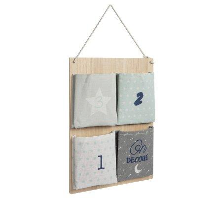 Rangement en bois à suspendre avec 4 pochettes tissu H59cm