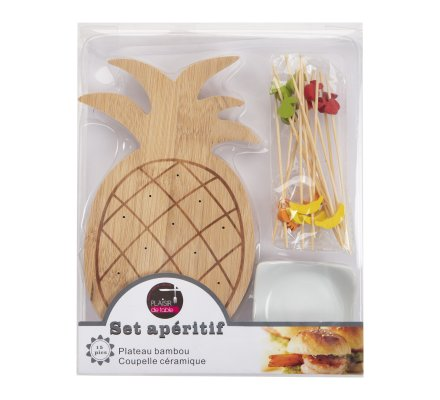 Plateau de présentation, set apéritif ananas en bambou avec coupelle céramique et 15 pics