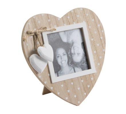 Cadre photo forme coeur à poser bois naturel avec coeur blanc