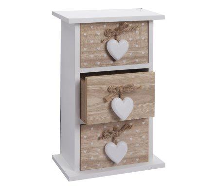 Mini meuble, vide poche en bois 3 tiroirs déco coeur à pois blancs H26cm