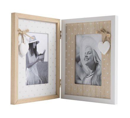 cadre photo double à poser en bois avec coeurs blancs