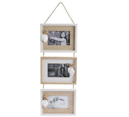 Cadre photo triptyque à suspendre en bois et ficelle avec coeurs blancs