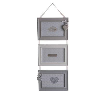 Cadre photo triple suspendu en bois gris et blanc avec coeur 55cm