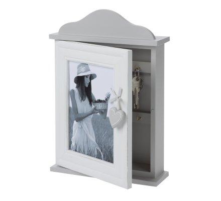 Boite à clés cadre photo en bois gris et blanc déco coeur