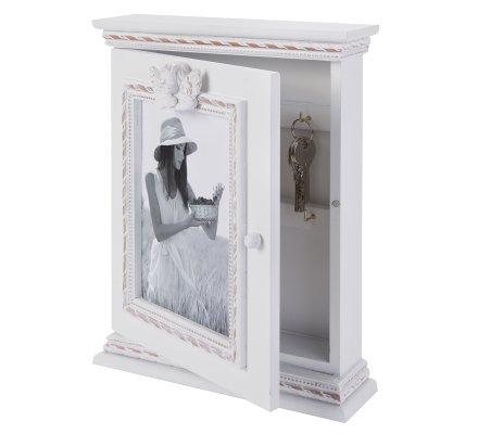 Boite à clés, cadre photo en bois blanc avec ange 30cm