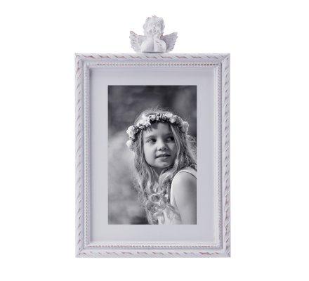 Cadre photo ange en bois blanc cérusé à poser  25x16cm