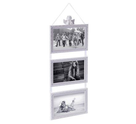 Cadres photo triptyque ange en bois blanc cérusé à suspendre 50x17cm