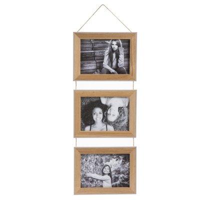 Cadre photo triptyque à suspendre en bois et ficelle marron contour taupe