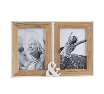 Cadre photo double à poser en bois 27,5cm x 9cm