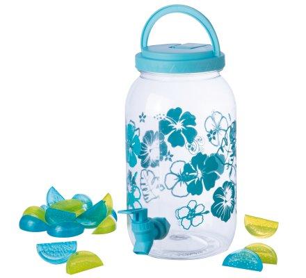 Fontaine, distributeur de boisson 3,5L en plastique avec robinet et 20 glacons réutilisables coloris bleu