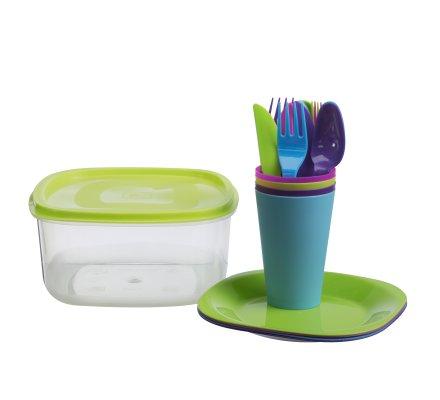Set pour pique-nique, lot de 21 pièces multicolores en plastique avec boite de rangement 3L