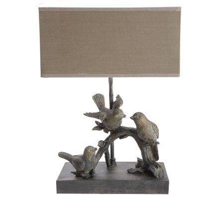 Lampe à poser oiseaux sur branche abat-jour rectangulaire coloris taupe