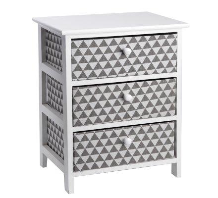 Meuble en bois 3 tiroirs en tissu design graphique origami gris 40x29x58cm